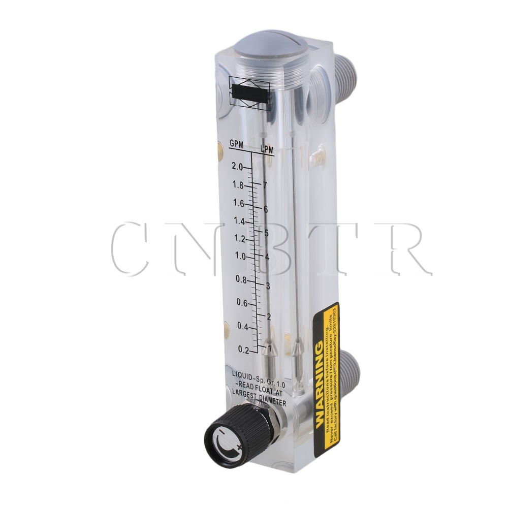 CNBTR 17 x 3.2cm LZM-15T 0.2-2.0GPM 1-7LPM Panel Type Flow Meter Flowmeter for Water Liquid Measurement With Adjustable Knob lzm 6t 0 5 3lpm 1 6scfh panel acrylic type flowmeter flow meter with adjust valve brass fitting female