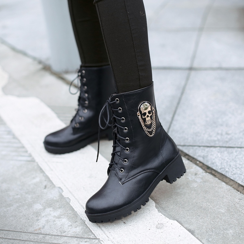 Image 4 - MORAZORA 2019 hot sale ankle boots for women skull street lace up platform women's boots fashion ladies autumn winter boots shoe-in Ankle Boots from Shoes