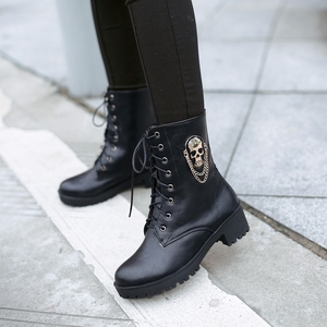 Image 4 - MORAZORA 2021 sıcak satış yarım çizmeler kadınlar için kafatası sokak lace up platformu kadın çizmeler moda bayanlar sonbahar kış çizmeler ayakkabı