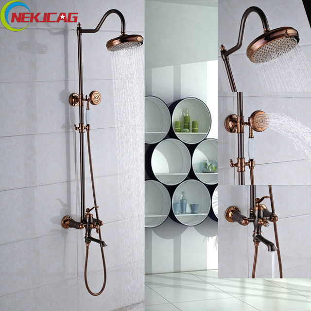 tub arched lever spout two and roman handheld hand with chrome jewel handle bathtub faucet shower faucets