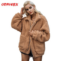 2019 autumn and winter women's new imitation lambs camel jackets soft plush 4 color cotton coats fur women's clothing