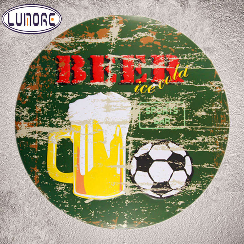 Beer Football Retro Metal Tin Signs Restaurant Coffee Cafe Party Sport Bar Wall Stickers Decor