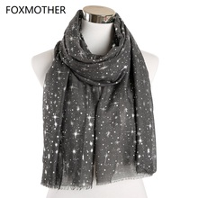 FOXMOTHER New Autumn And Winter Pink Navy Star Print Scarf Women Foil Sliver Hijab Scarves Glitter Galaxy Shawl Wrap Ladies 2019