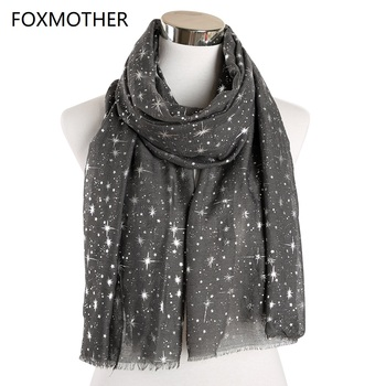 FOXMOTHER New Autumn And Winter Pink Navy Star Print Scarf Women Foil Sliver Hijab Scarves Glitter Galaxy Shawl Wrap Ladies 2019 foxmother 2019 new design shiny navy pink grey foil sliver floral scarf glitter hijab muslim wrap echarpe bufanda scarves women