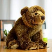 Rare Big Plush Toys Real Life Brown Bear Doll Wildlife Children'S Toy Gifts Pillow Birthday Present Women