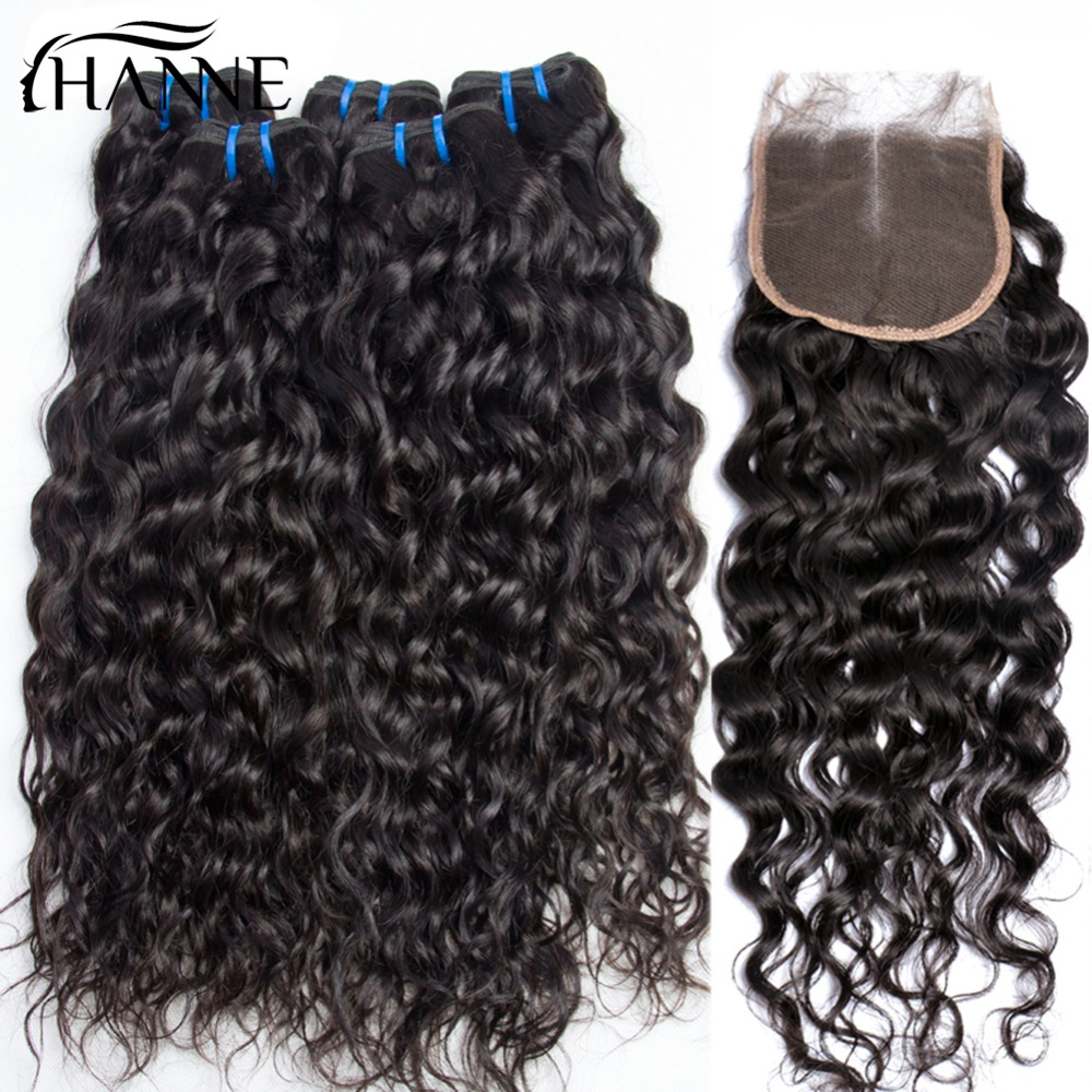 HANNE Hair Indian Virgin Hair Natural Wave Bundles with Closure 100% Virgin Human Hair Natural Color 4*4 Lace Closure Remy Hair