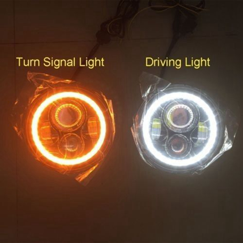 цены  Pair 7 Inch Round High Low LED Headlight with Amber Signal Halo Ring Angle Eyes with DRL Halo for 97-15 Jeep Wrangler JK TJ