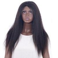 Бразильский яки прямо парик для черный Для женщин бразильский девственные волосы курчавые прямо Синтетические волосы на кружеве парик 200% п