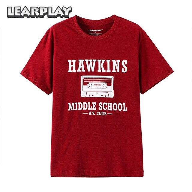 Stranger Things Hawkins Middle School Av Club T Shirt Red Short