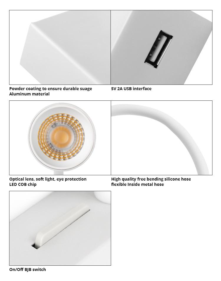 USB LED Lâmpada de Leitura 4W Alumínio