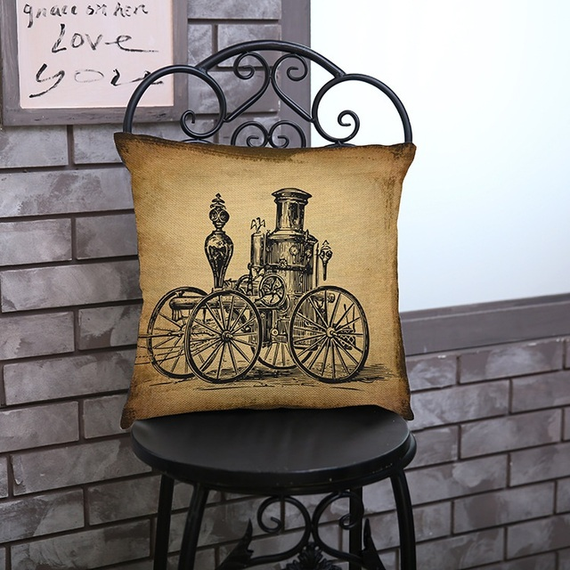 Retro Collection Decorative Cushion Cover – Cotton Linen, 17 x 17 inch