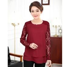 Chiffon Blouse 2017 Women Tops Big Size Lace Chiffon Blouses Middle Aged Mother Plus Size Shirts Lady Large Size L- 4XL Black