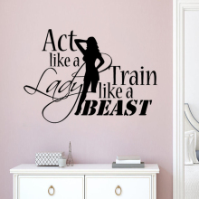 Vinyl Fitness Club Wall Decal Sport Quote Sticker Gym Decoration Train Like A Beast Poster Mural AY1730