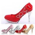 Bombas de casamento Sapatos de Noiva Mulheres Girl Glitter Falso Crystal Rose Flor Festa À Noite Tribunal Shoes parte inferior vermelha de Salto Alto 8 cm