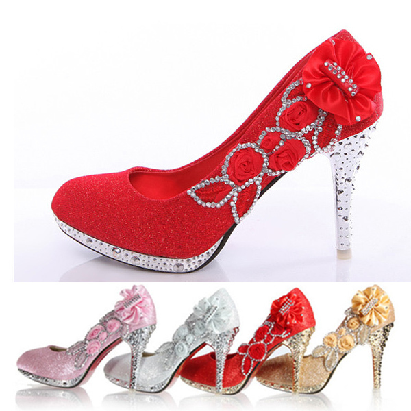 Aliexpress Wedding Shoes Bridal Pumps Women Glitter Fake Crystal Rose Flower Evening Party Court Red Bottom High Heels 8cm From