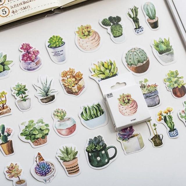 50 unids/lote verde planta de Cactus Mini etiqueta engomada de papel de decoración DIY tu álbum diario Scrapbooking etiqueta papelería