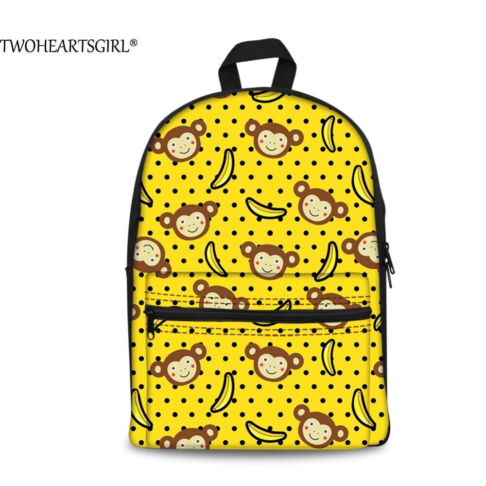 TWOHEARTSGIRL Yellow Banana Cute Monkey 3D Printing Canvas Backpack for Girl School Teens Travel Rucksack Vintage Child Bagpack