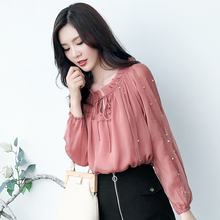купить Vintage Beading Mesh Chiffon Blouse Korean Style Autumn Lace-up Sweet Ladies Tops Casual OL S-XXL Pink Long Seeve Blouse Elegant по цене 841.5 рублей