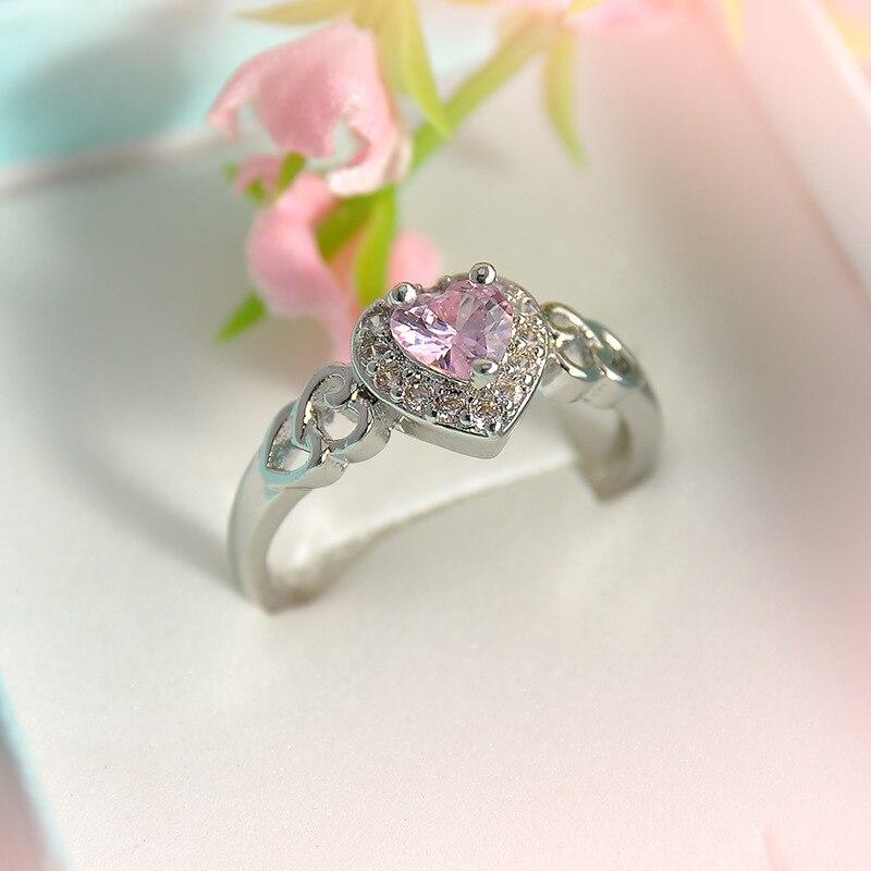 Love Romantic Pink Zircon Ring Micro-sweet Peach Heart Shaped Ringen Temperament Women Finger Rings Size 6,7,8,9 Fashion Jewelry