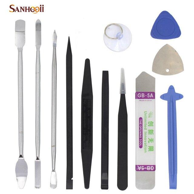 SANHOOII 12in1 Mobile Phone Repair Tools Kit for iPhone Tablet Smartphone Disassemble Metal Spudger Nylon Repairing Tool set