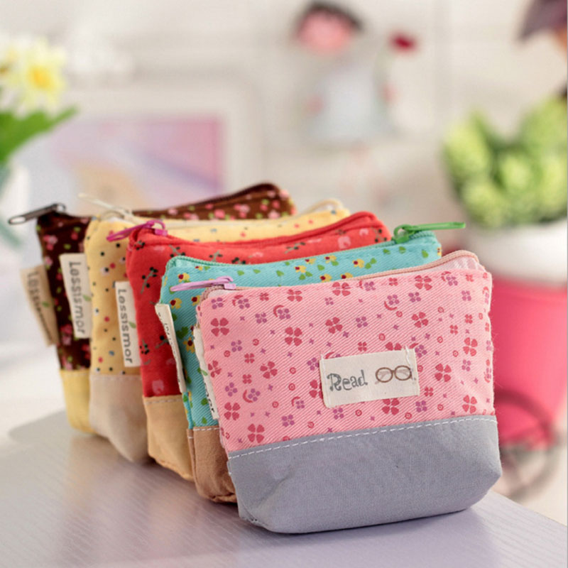 Ladies Cheapest Canvas Cute Flowers Small Change Coin Purse Little Key Car Pouch Money Bag,Girl's Mini Short Coin Wallet