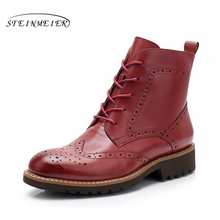 Yinzo Ankle Boots Women Genuine Cow Leather Round Toe Lace up Fashion Lady Boots low Heel Winter Shoes Handmade Shoes 2020