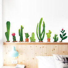 Many types of cactus Green plants Wall Stickers Living room Bedroom background home decoration Mural Decal wall decor wallpaper(China)