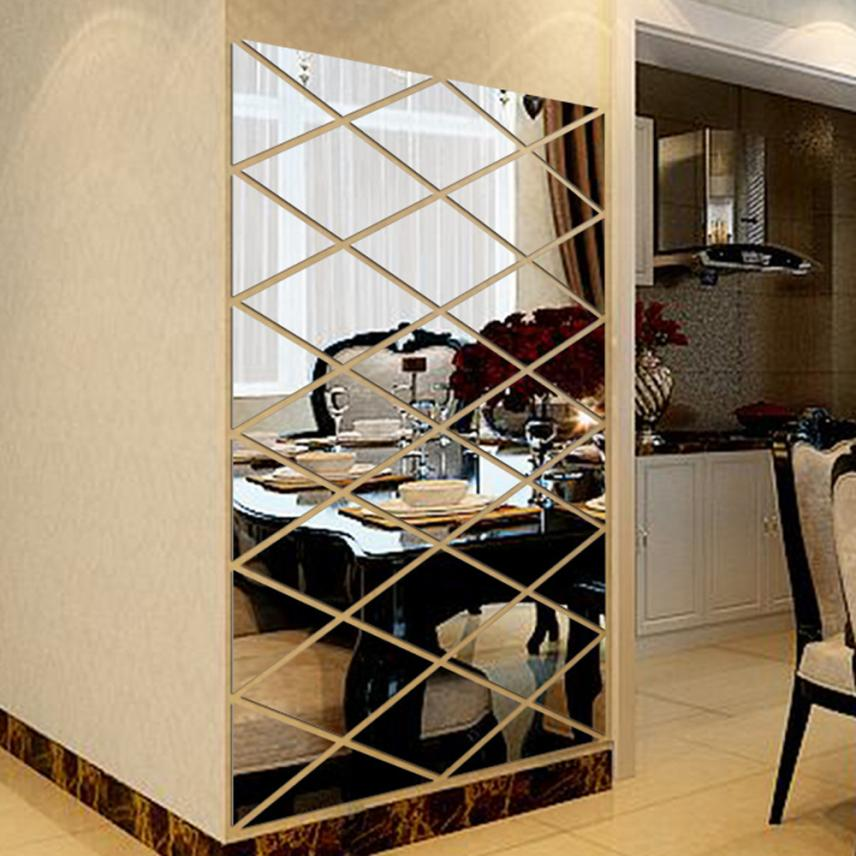 Modern Fashion DIY 3D Stickers Mirror Sticker Home Livingroom Decoration Alloy Acrylic Mirror Luxury a2