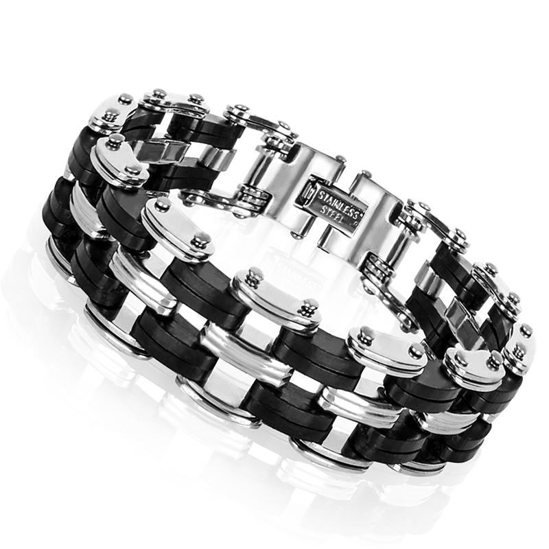 geekoplanet.com - Stainless Steel & Silicone Rhombus Bracelets