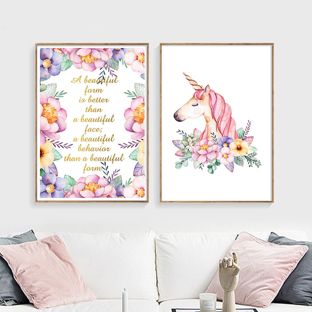 watercolor flower unicorn wall art canvas painting nursery quotes posters and prints nordic kids. Black Bedroom Furniture Sets. Home Design Ideas