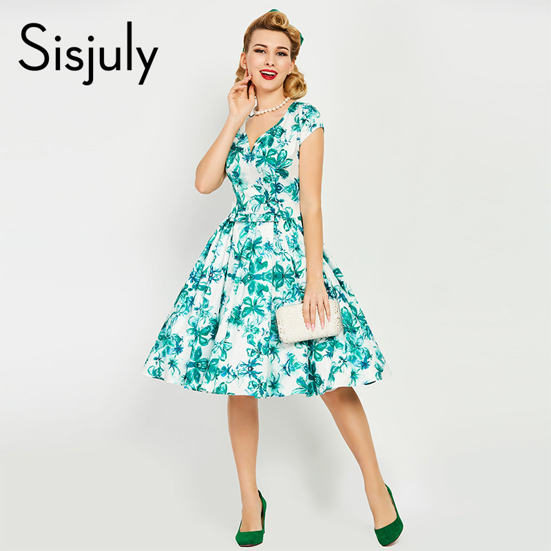Sisjuly Vintage Dress 1950s Summer Dress Floral Print Knee Length Dress V Neck Retro A Line