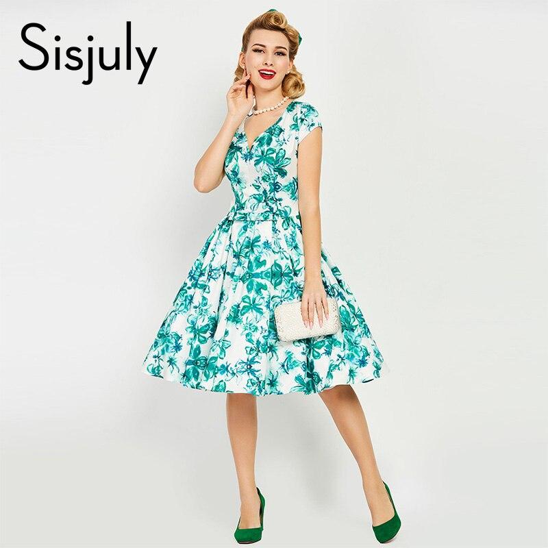 Sisjuly Vintage Dress 1950s Summer Dress Floral Print Knee Length Dress V Neck Retro A Line