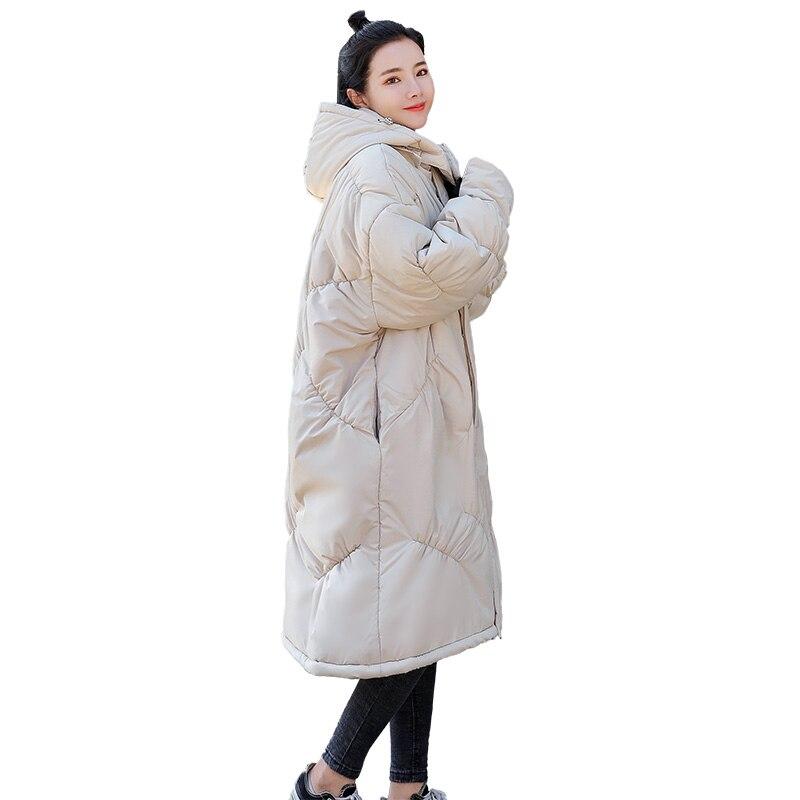 Parkas Outwear Grand Mode La Modèle Bas Vers Chaud Manteau Long À Col Plus Manteaux Vestes D'hiver Taille Le Capuchon Femme 2018 Beige Lâche Femmes HWY1wvq1T