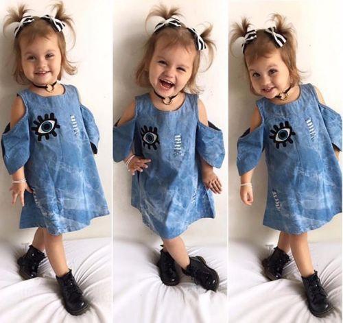 53903b6704f Fashion Toddler Kids Baby Girls Denim Dress Big Eye Appliques Princess Dress  Girl Outfits Clothes