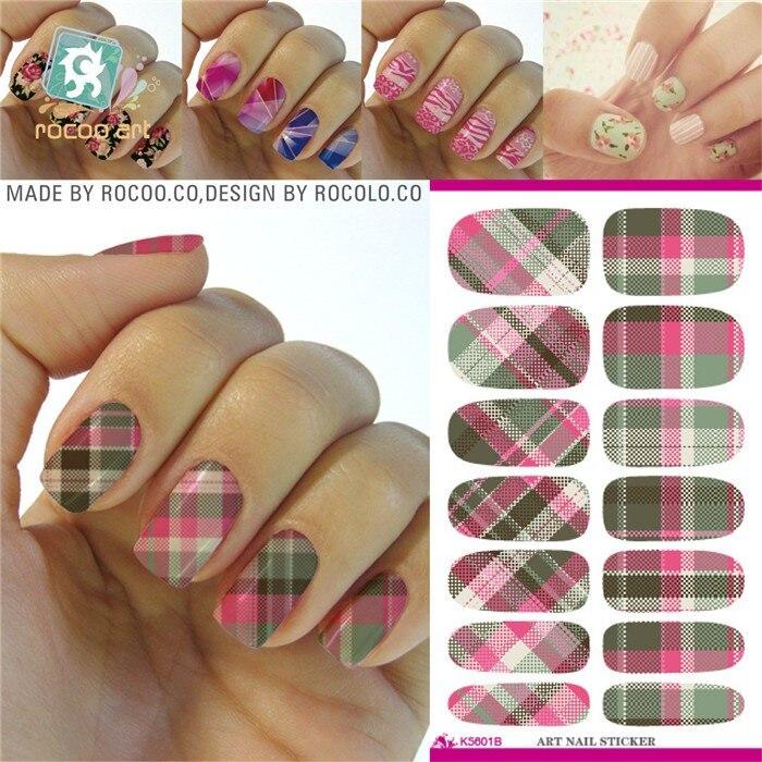 16 Styles Retro Plaid Water Nail Decal Design Beauty Nail Art ...