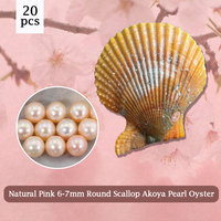 20pcs 6 7mm Natural Pink Pearl Akoya Oyster Round Pearl in Scallop Oyster,20 Pearls You Can Get, DIY Making for Necklace PJW292