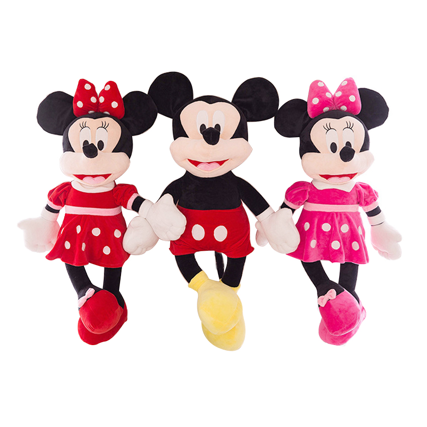 1PC 40cm Cute Mickey Mouse and Minnie Mouse Plush Toys Stuffed Cartoon Figure Dolls Kids Baby Christmas Birthday Gift 2015 new 1 piece 28cm 30cm mini lovely mickey mouse and minnie mouse stuffed soft plush toys christmas gifts