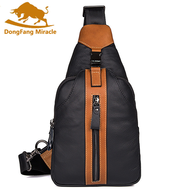 New High Quality Men Genuine Leather Cowhide Chest Bag Travel Climb Sling Chest Pack Messenger Shoulder Cross Body Bag