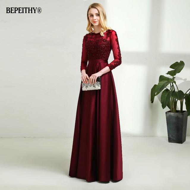 Robe De Soiree Long Sleeves Burgundry Long Evening Dresses Floor Length Vintage Lace Top Cheap Prom Dresses