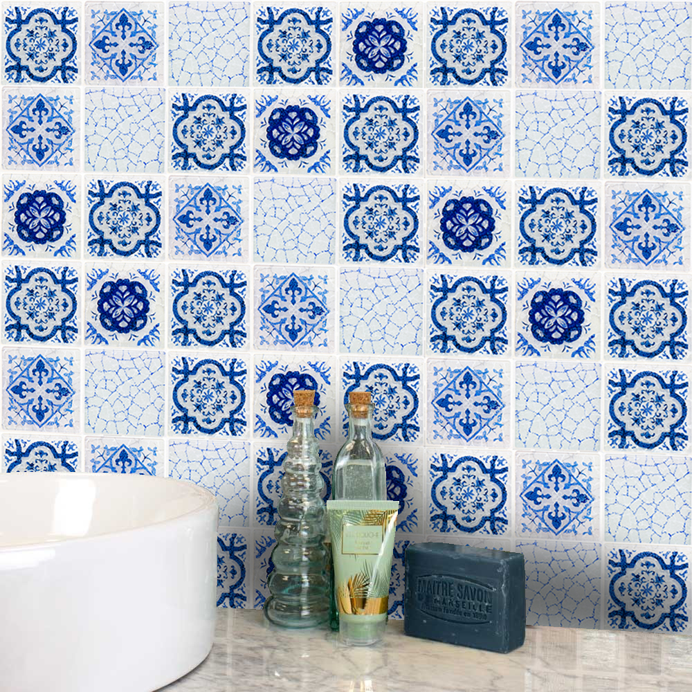 Bathroom Blue and white porcelain tile stickers decals home ...