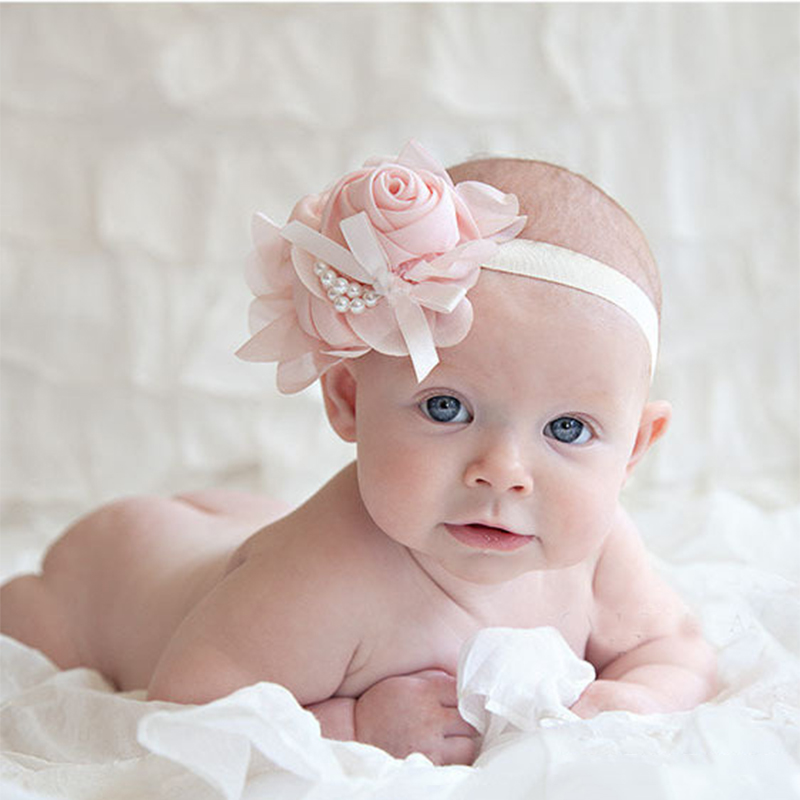 Cute Baby Headband Elasticity Pearl Rose Flower Hair Band Chiffon Lace Newborn Girl Ribbon Elasticity Hair Accessories Headwear цена