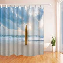 Ocean Landscape Yellow Skateboard Blue Sky White Sea Wave,Beach Shower Curtain,Fabric Bathroom Shower Curtain Set With 12pcs(China)