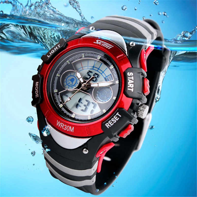 SKMEI Sports Kids Watches Children Watches LED Cartoon Silicone Quartz Digit Watch For Boy&girl Student Swimming Wristwatches