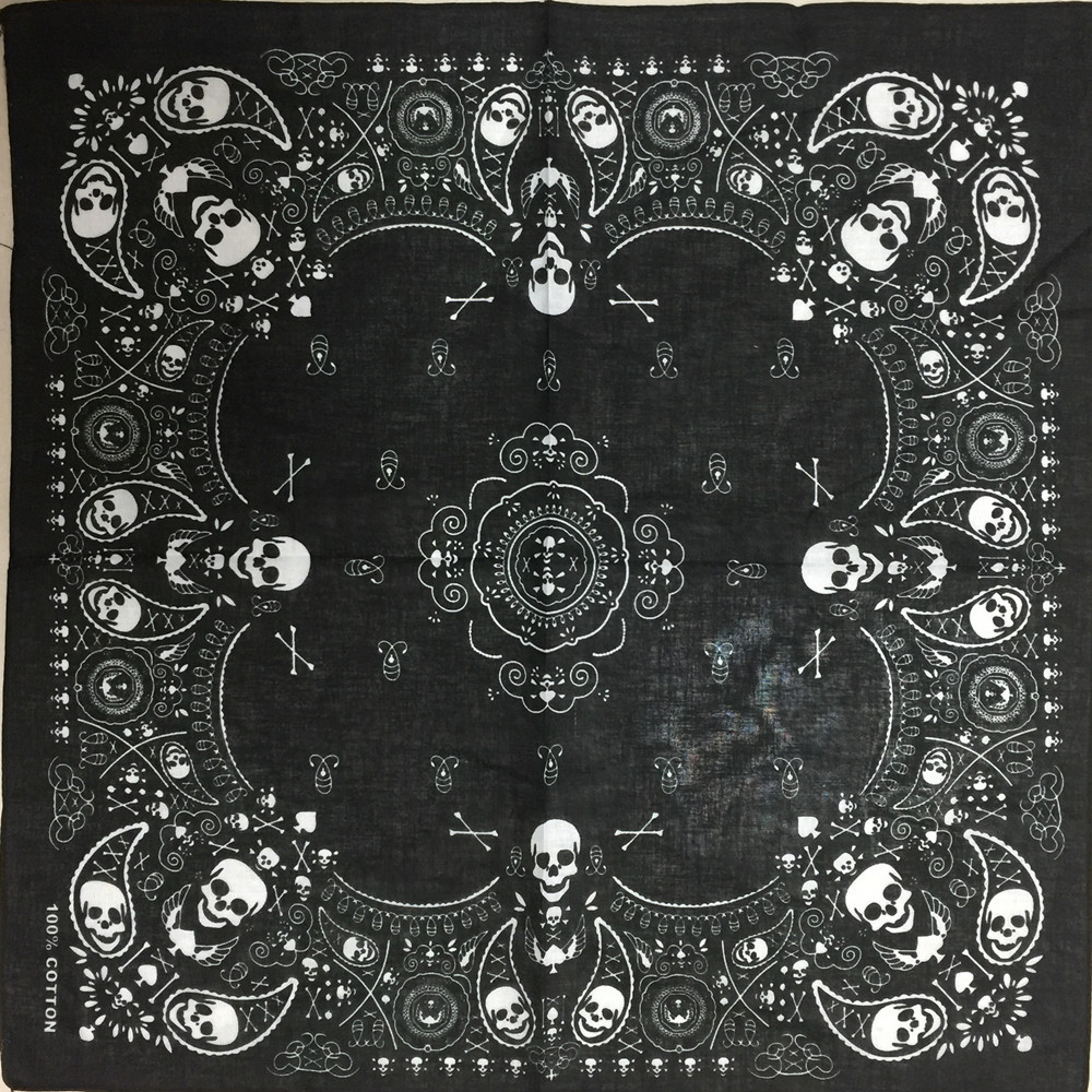 New 55CM*55CM 100% Cotton Black Hip-Hop Fashion Paisley Bandanas   Scarf   Punk Skull Bandana Headband   Wrap     Scarf   For Men/Women