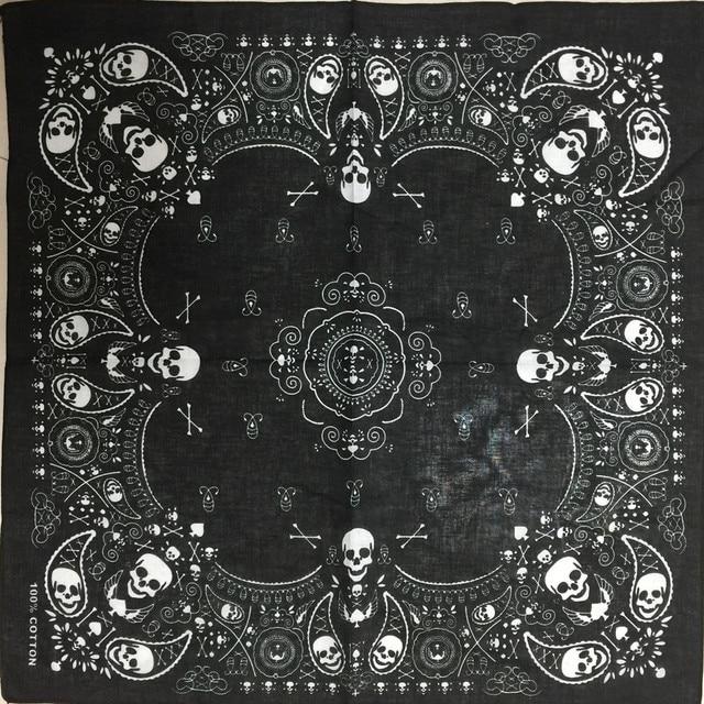 Nueva 55 cm * 55 cm 100% algodón negro moda hip-hop Paisley bandanas bufanda punk Skull Bandana diadema bufanda del abrigo para hombres/mujeres