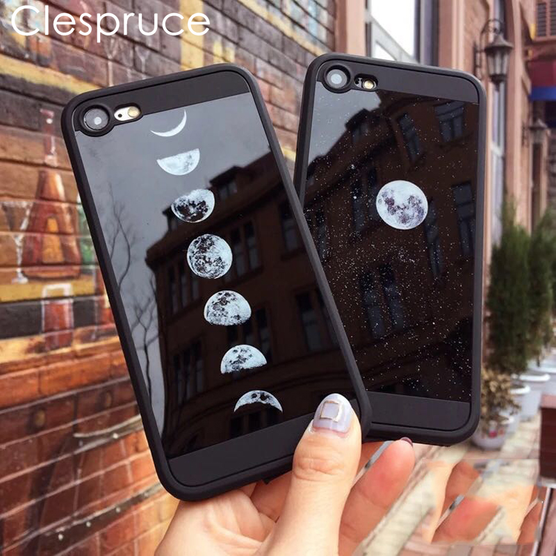 Universe Stars Moon Phone Cases For iPhone 8 8plus X back Mirror Night sky Eclipse Cover For iPhone 7plus 6s 6 soft black Case ...