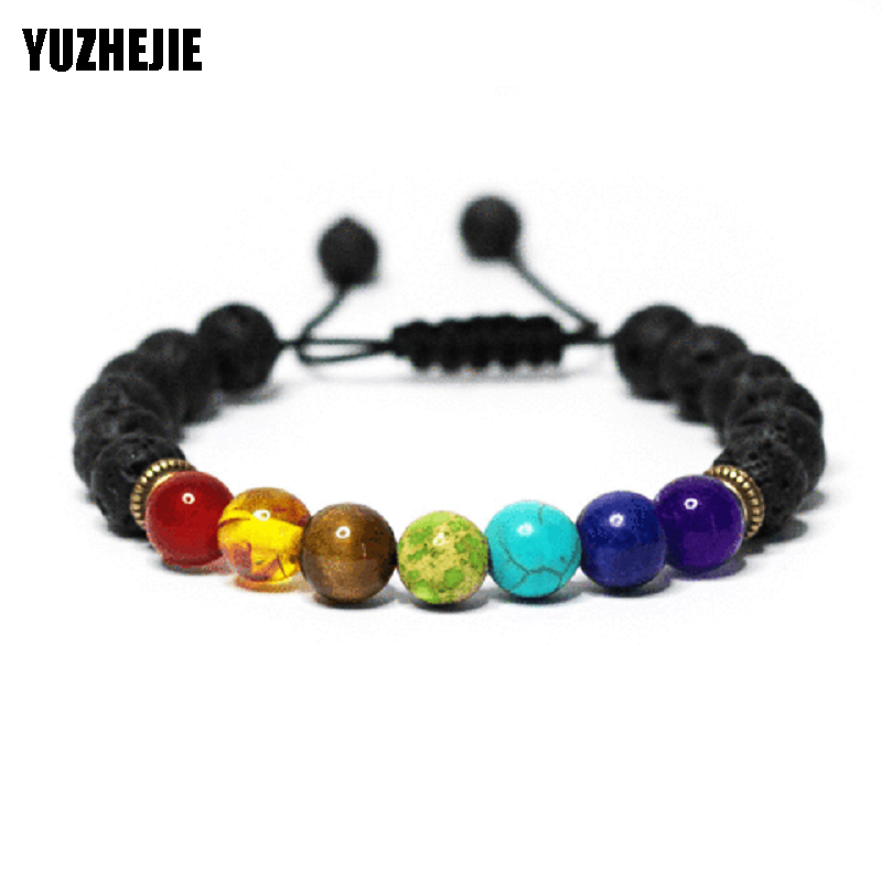 7 Chakra Bracelet Healing Heart Charm Bracelets 2017 Wrist Mala Beads stone Adjustable Yoga Bracelet Chakra Jewelry Mens Womens