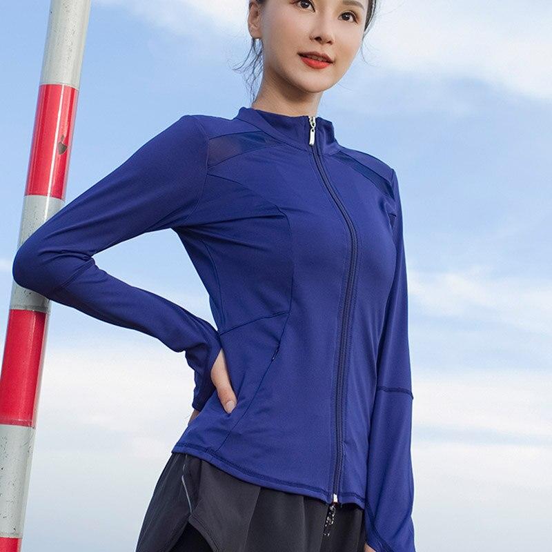Женский топ для йоги с длинным рукавом, сетчатая быстросохнущая Спортивная футболка, дышащая куртка для бега, толстовка на молнии, спортивн...