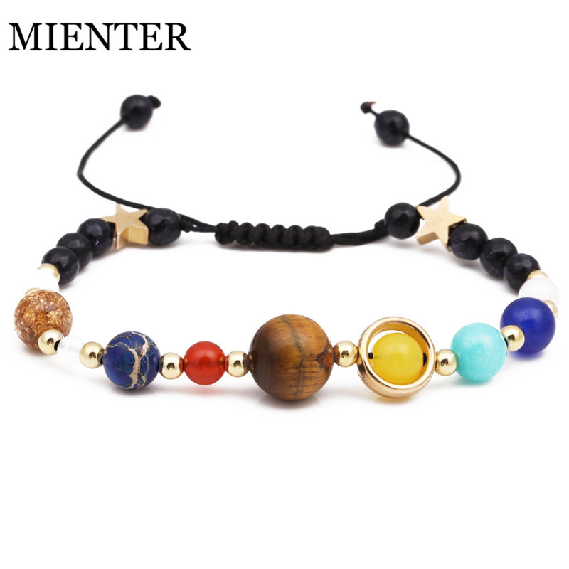 Universe Solar System Bracelet Eight Planets Guardian Star Natural Stone Adjustable Bracelet Bangle Men Women Gift MIENTER