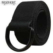 Лучший YBT ремень унисекс холст сплав двойное кольцо Пряжка женский ремень армейский Тактический Регулируемый, для спорта на открытом воздухе Повседневный модный мужской ремень